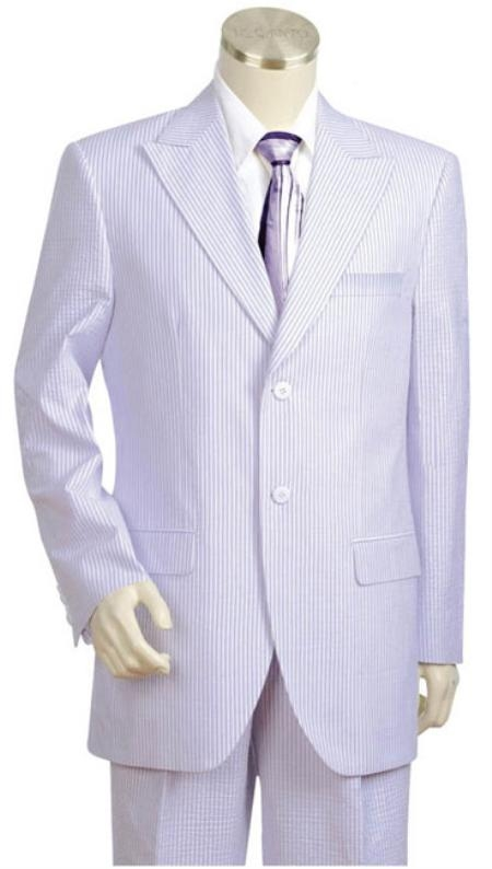 SKU#XA2147 Mens 2pc 100% Cotton Seersucker Suits WhiteLavander $159