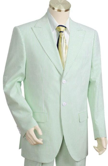 Mens 2 Piece 100 Cotton Seersucker Suits Green Color
