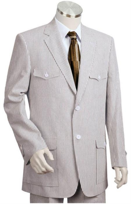 SKU#KJ2541 Mens 2pc 100% Cotton Seersucker Suits Grayoffwhite