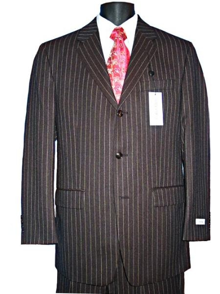 SKU# KL23 Mens 100% Wool 3 Button Small Super 120s Black Pinstripe Suit $99