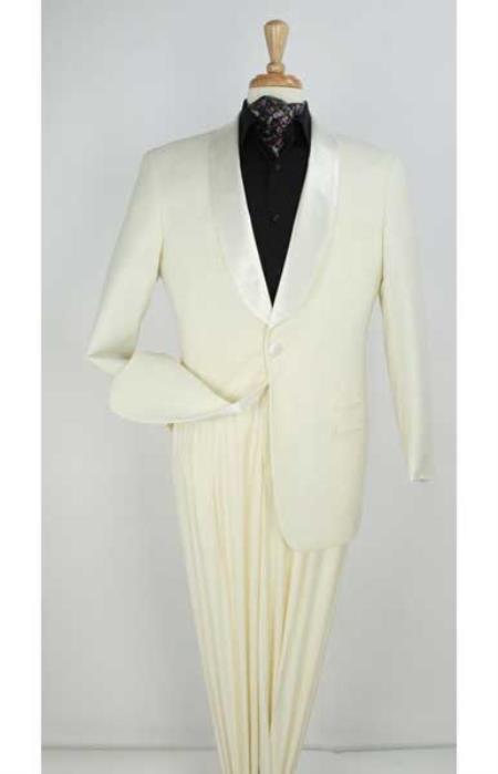 Ivory ~ Cream ~ Off White Shawl Men's Tuxedo Suit 1 button Satin Lapel