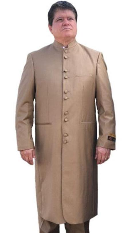 Preacher Mandarin Style 45 Inch Long Coat Taupe ~ Khaki ~ Tan clergy pastor robes for males buy 10PC & UP For $110