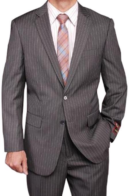 Men's Grey Stripe ~ Pinstripe 2-button 2 Piece Suits - Two piece Business suits Suit