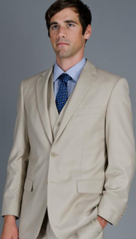 Mens Three Piece Suit - Vested Suit Mens 2-Button Vested Suit Beige