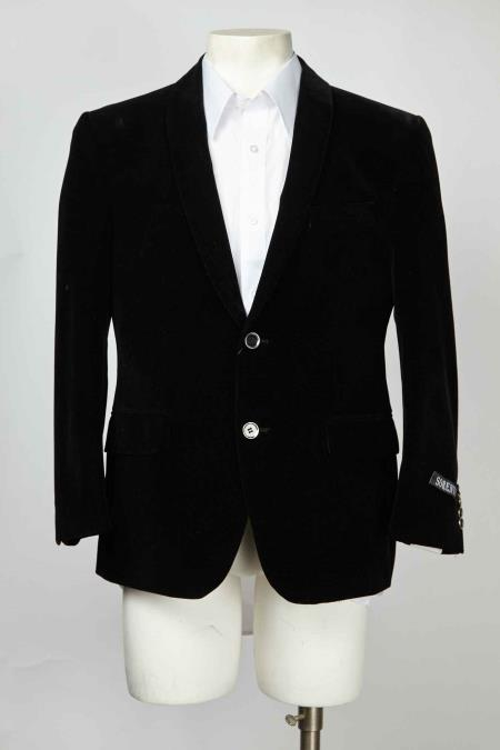 Two Button Shawl Lapel Men's Black Blazer