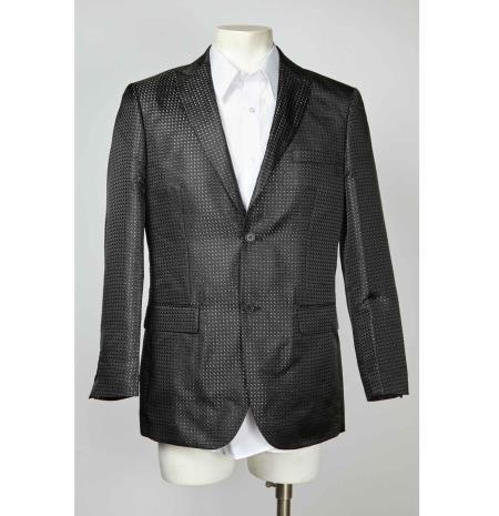 Mens Black  Silver Designer Fashion Dress Casual Blazer