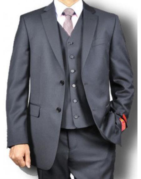 Men's Mantoni Brand 100% Wool Solid 2 Button Vested 3 Piece Suit Jet Black- High End Suits - High Quality Suits