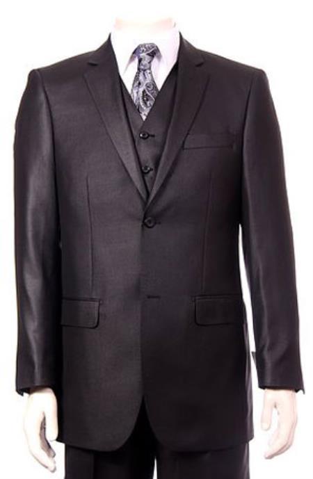Mens Black Ultra fine Super fine poly blend Vested Suit