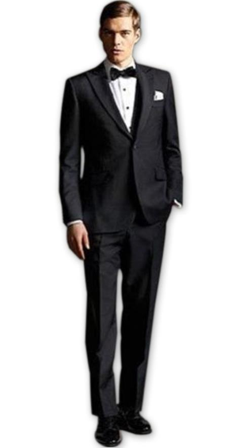 Mens Black high fashion Two Buttons  suit