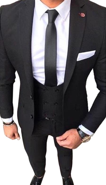 Slim Fit 2 button Black Suit With Double Breasted Vest White Shirt & Black tie  Mens Dress Shirt