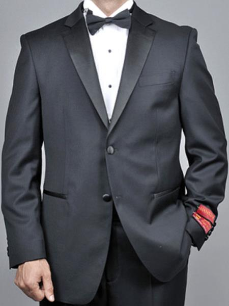 Mens Mantoni Lapel Tuxedo 2 Button Black