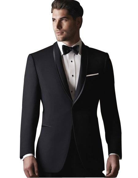 Men's 2 Button Black Satin Shawl Lapel Slim Fit Suit