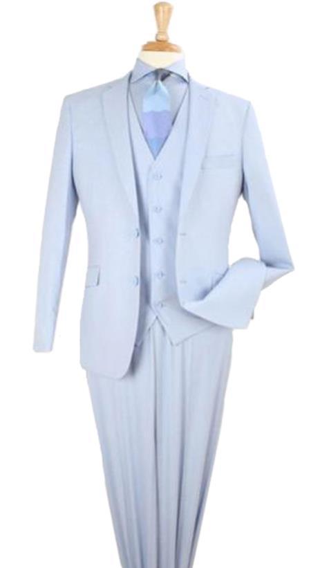 Mens 3 Piece modern fit Poly Rayon vested blue suit Flat Front Pants - Light Blue Suit - Sky Blue Suit