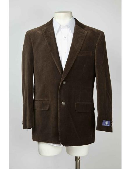 Mens 2 Button Velvet ~  Brown Mens blazer