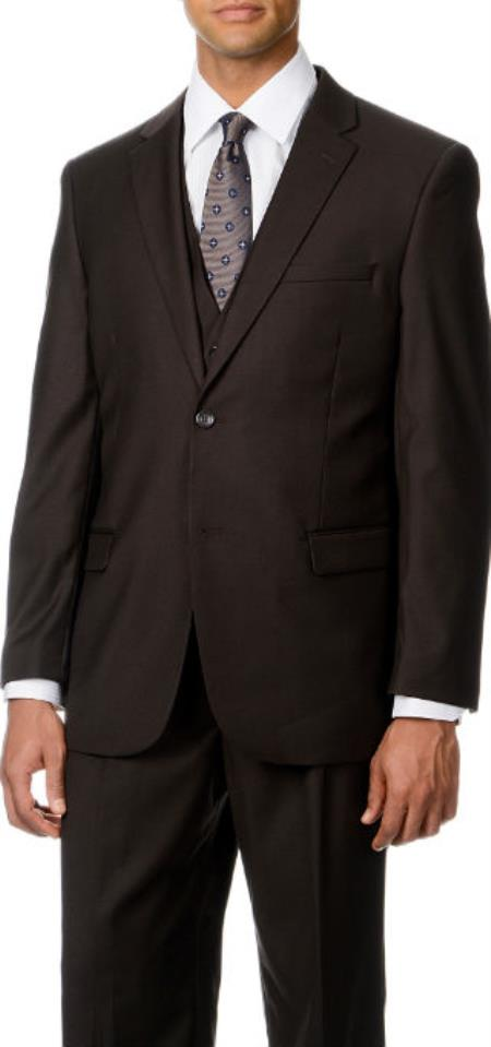 Caravelli Italy  2-Button Vested Suit Brown Affordable - Discounted Priced On Clearance Sale