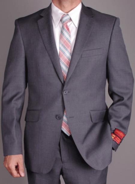 Men's Mantoni 2 Button Slim Cut Suit Charcoal Gray- High End Suits - High Quality Suits