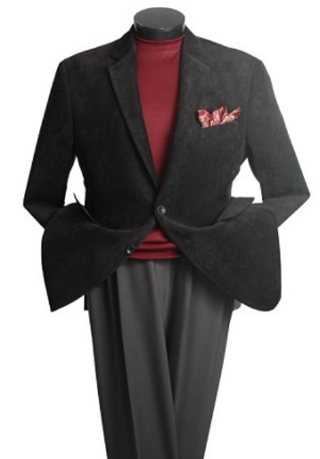 SKU#RE3000 Men's 2 Button Classic Corduroy Blazer Black
