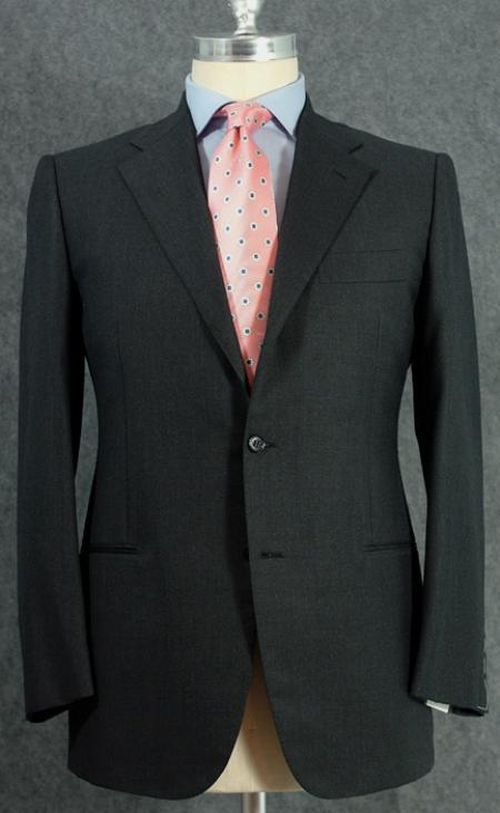 SKU# ANA_CH202 Mens 2 Button Darkest Charcoal Gray Dress Wool Suit