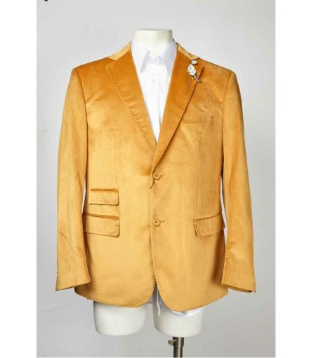 Mens Gold Mens blazer Two Button Velvet ~  Single Breasted