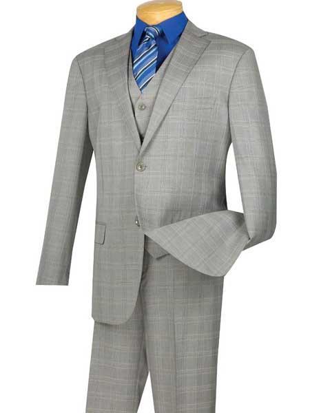 Fashion Unique Brand Mens Gray Extra Long 2 Button Glen Plaid Windowpane Notch Lapel Executive Suit