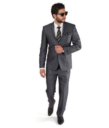 2 Button Men Trim Collar Grey Slim Fit Suit / Tuxedo