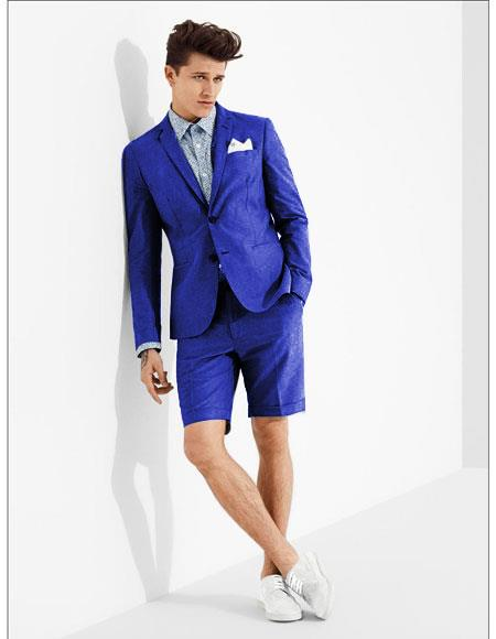 Men's summer business suits with shorts pants set (sport coat Looking) Indigo ~ Bright Blue