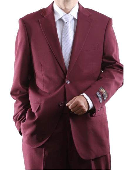 Mens 2 Button Jacket Burgundy ~ Maroon Suit ~ Wine Color Dress Cheap Priced Business Suits Clearance Sale Side Vent Pleated Pants
