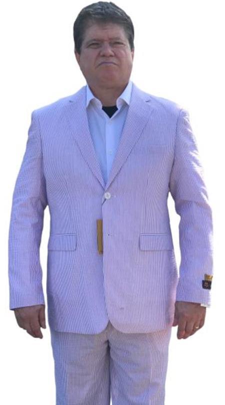 Alberto Nardoni Purple Lavender Seersucker Sear sucker suit 2 button Flat Front Pants Regular Fit Side Vented