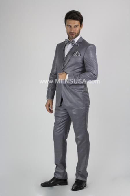 Notch Lapel Slim Fit 2 Button Sharkskin Textured Pattern Tapered Fit Suit With Vent Medium Grey Online Discount Fashion Sale