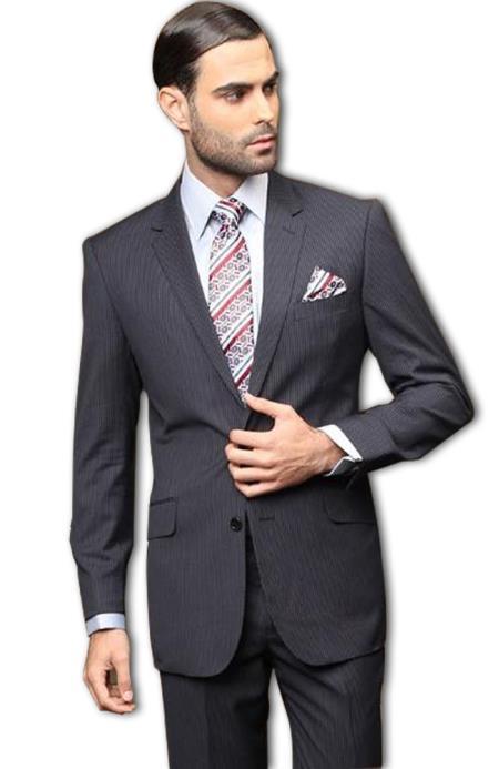 Pick Stitch Collar Slanted Pocket 2 Button Dark Navy Blue Stripe ~ Pinstripe Slim Suit