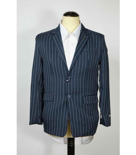 Button Single Breasted Pinstripe