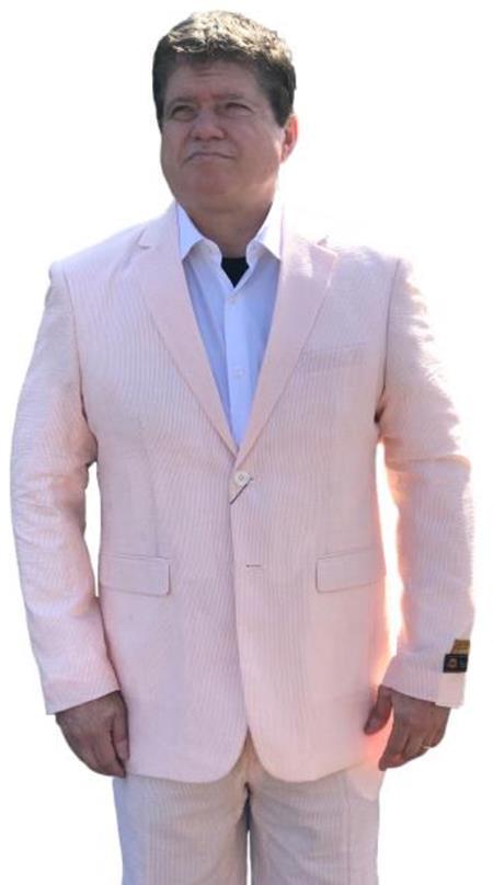 Alberto Nardoni Orange Seersucker Sear sucker suit 2 button Flat Front Pants Regular Fit Side Vented