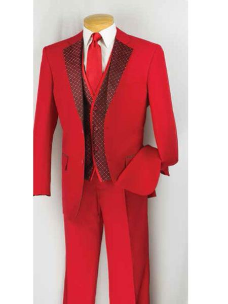 Mens 2 Button Suit,Tuxedo Vested 3 Piece Pleated Pants Notch Collar Red