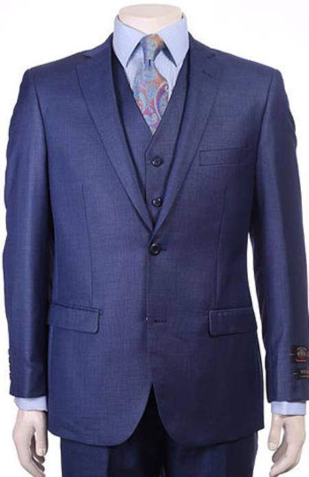 Men's Royal Blue Modern Sheen Sharkskin Design Suits