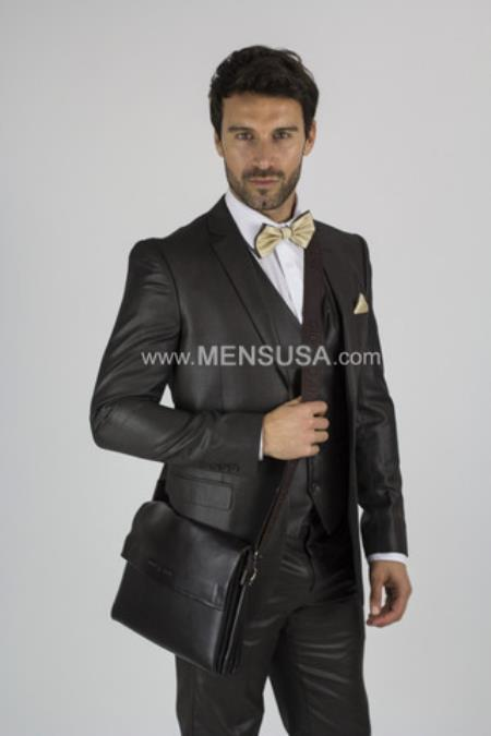 Notch Lapel 2 Button Sharkskin Textured Pattern Tapered Fit Suit With Vent Slim Fit Brown Online Discount Fashion Sale