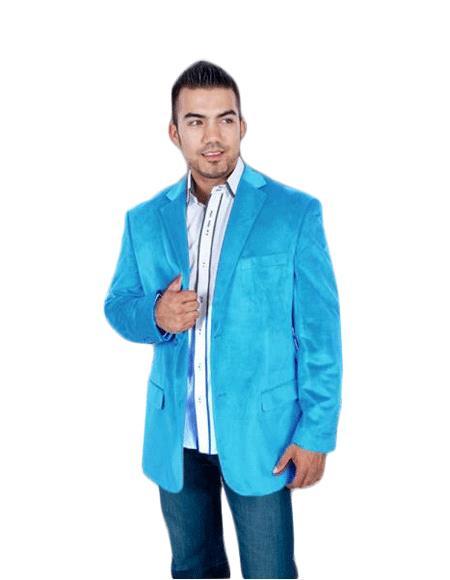 Velvet Blazer - Mens Velvet Jacket Mens Stylish 2 Button Sport Aqua turquoise Color ~ Light Blue Stage Party Light Blue