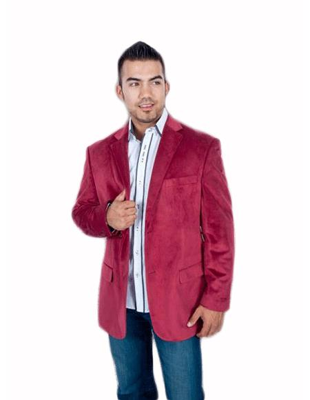 Men's Stylish 2 Button Sport Burgundy ~ Maroon Blazer - Sport Coat ~ Wine Color Discounted Affordable Velvet