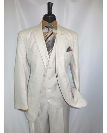 2 Button Egg Shell Men's Peaked Lapel Jacket With Vested Suit