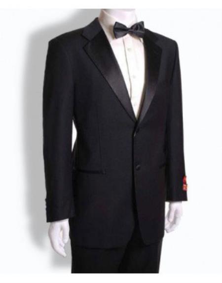 Men's Mantoni 2 Button Tuxedo  Wool Dinner Suit Jet Black- High End Suits - High Quality Suits
