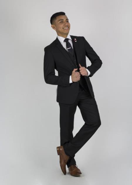 Men's  2 Button Slim Fit Suit Black Affordable - Discounted Priced On Clearance Sale
