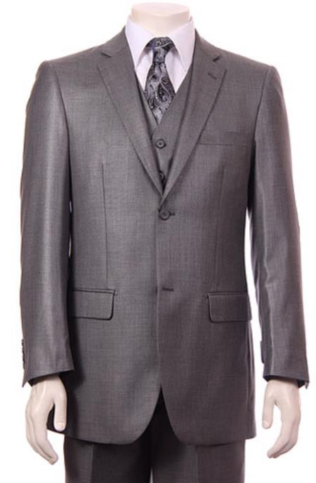 Men's Gray 2 Button Vested Suit
