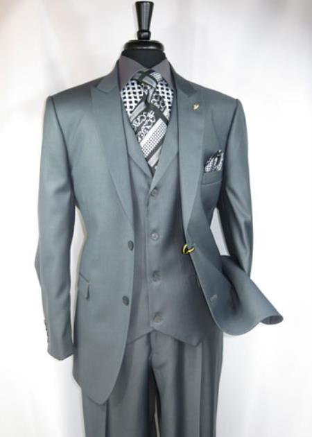 Mens Falcone Suit Brand 2 Button Suit Jacket with Peaked Lapel Grey