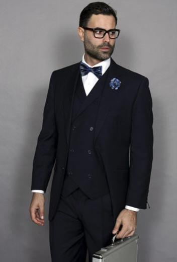 Mens Statement Suit Confidence Suit Men's Italian Double Breasted Vest Dark Navy 3 Piece Wool With Pleated Pant