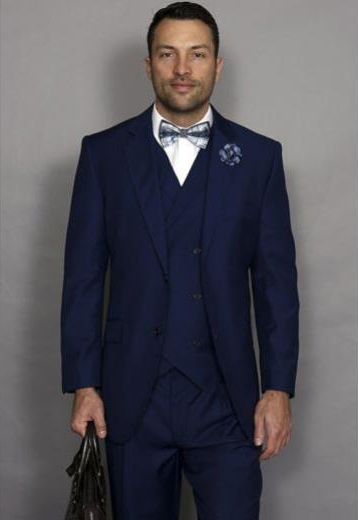 Mens Statement Suit Confidence Men's Sapphire Blue 3 Piece Italian Style Wool Double Breasted Vest Suit