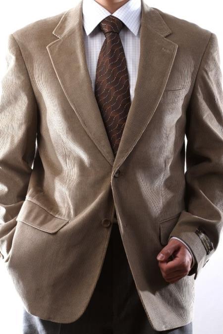 Buy SS-71 Mens Two Button Tan 100% Cotton Corduroy Sport Coat