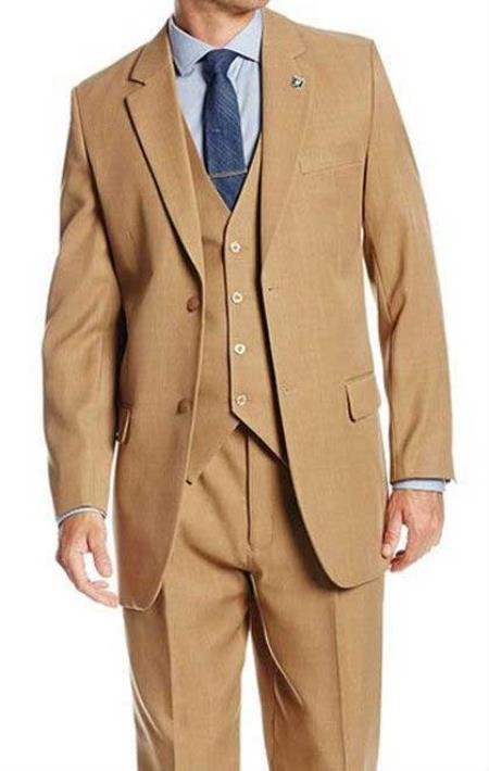 cd9a2972f0c8 Mens Solid Tan 2 Button 3 Piece Suit Suny Stacy Adams Pleated Pants