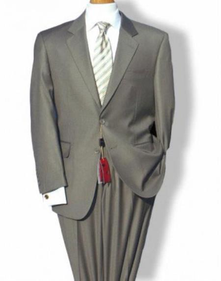 Mens Mantoni Mordern Fit 2 Button Single Breasted Jacket Suit Taupe