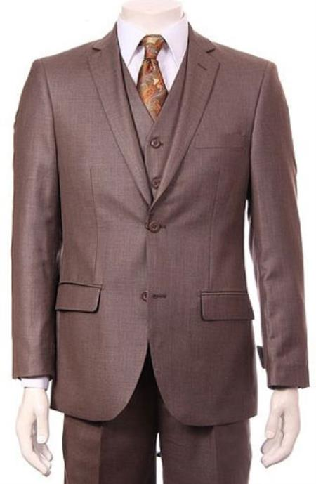 Mens Regular Fit Two 2 Button Vested Suit 3 Pieces Pleated Pants Side Vents With Sheen Sharkskin mini pattern Taupe