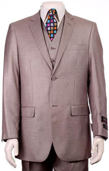 H.Taupe Sharkskin mini pattern Design Mens Regular Fit Two Button 3Pieces Pleated Pants Suit