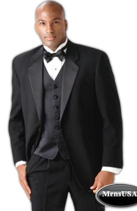 Men's Super 140's wool 2 Button Tuxedo Suit + Vest + Shirt + Bow Tie